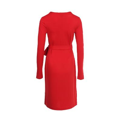 simple design wrap dress red